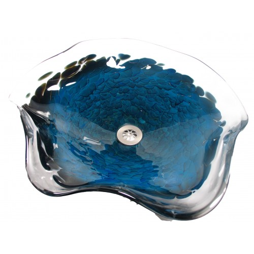 Splash Glass Vessel Sinks   Blue Luster