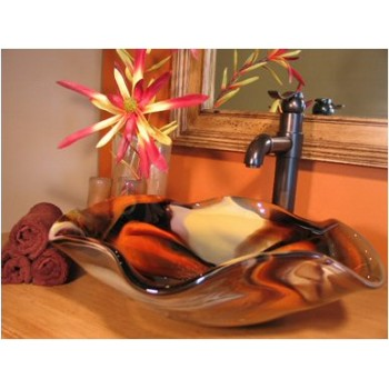 Splash Glass Vessel Sinks - Desert Sunset Splash
