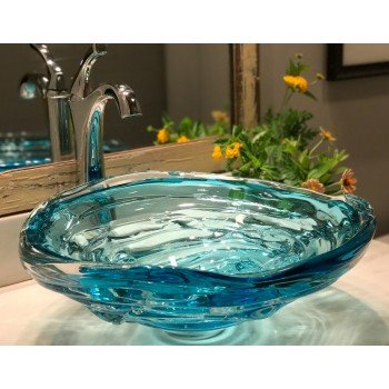Water Bowl Glass Vessel Sinks - Copper Blue Waterbowl